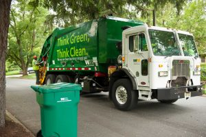 Waste Management trucks fueled by compressed natural gas (CNG) prepare for their morning pickups in the Camden, N.J. market. The Houston-based waste hauler, which reported nearly $14 billion in revenue in 2014, was named to the Chronicle 100.